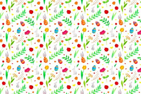 Easter bright background with flowers, leaves, hearts, eggs and bunnies Foto de archivo - 137890619