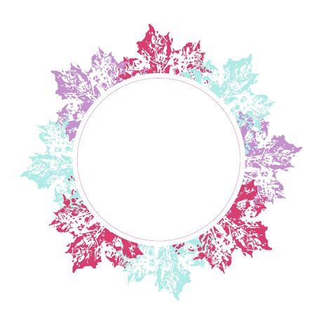 Floral circle frame with colorul leaves decoration. Arrangement for card ornament Illusztráció