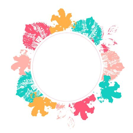 Floral circle frame with colorul leaves decoration. Greenery arrangement for card ornament