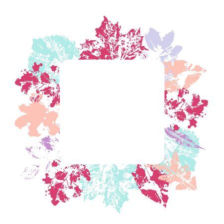 Floral square frame with colorul leaves decoration. Arrangement for card ornam