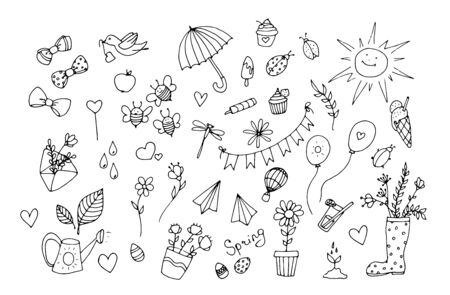 Set of spring summer icons. Hand drawn positive icons.