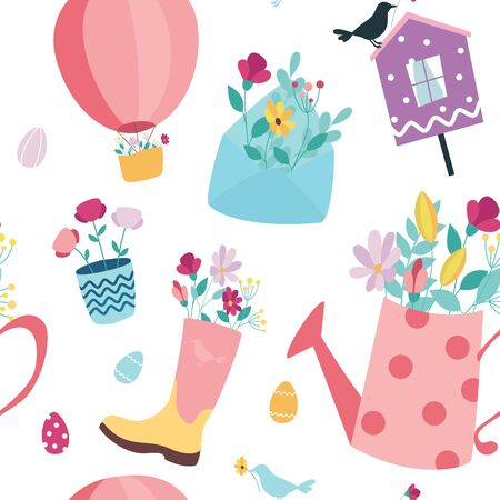 Vector seamless spring background. Envelope with flowers, birdhouse and air hot balloon