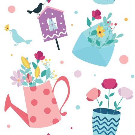 Seamless spring background. Envelope with flowers, birdhouse