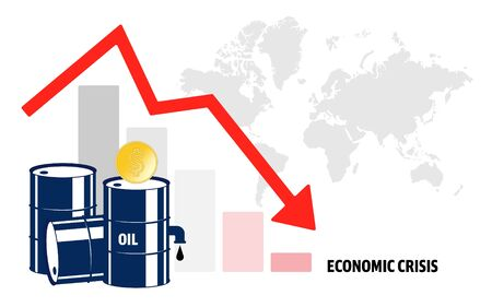 World oil crisis. Graph with down arrow and world map, halons with oil and dollar sign