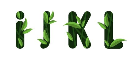 Letters I J K L of the alphabet. Leaf design.