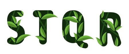 Letters S T Q R of the alphabet. Leaf design.