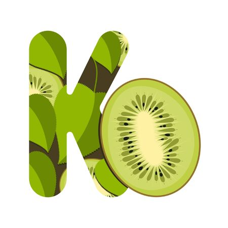 Letter K with green leaves and kiwi