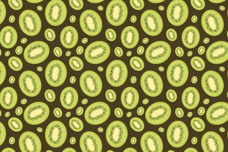 Kiwi pattern on a brown background. Green fruit background Banco de Imagens