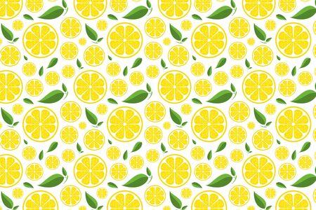 Lemon pattern on white. Bright yellow fruit background Banco de Imagens