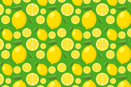 Lemon pattern on green. Bright yellow fruit background