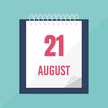 Calendar icon. 21 august. Time management.