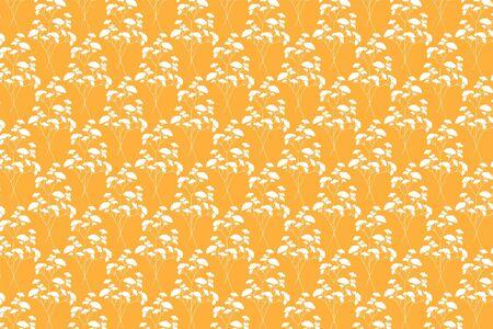 White flower shape. White floral shapes pattern on an orange background.