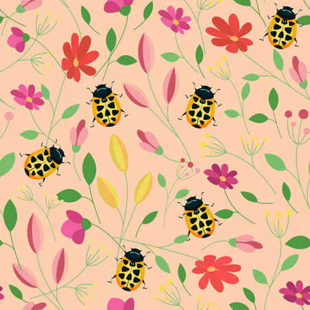 Beetles colorful seamless pattern. Floral summer background