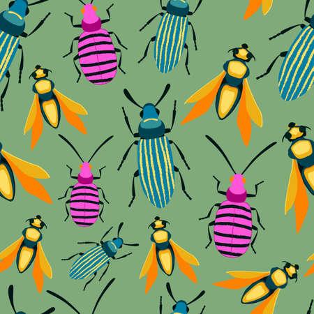 Bug colorful seamless pattern. Insect summer background Illusztráció