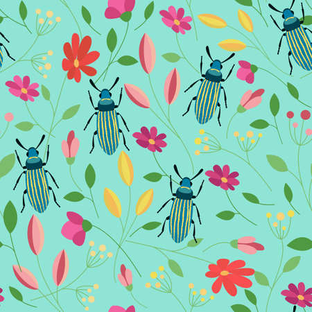 Bug colorful seamless pattern. Floral summer background