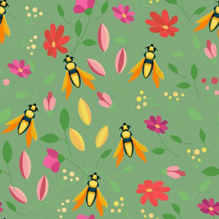 Fly colorful seamless pattern. Floral summer background Illusztráció