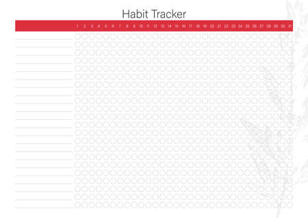 Vector habit tracker with minimalistic floral design