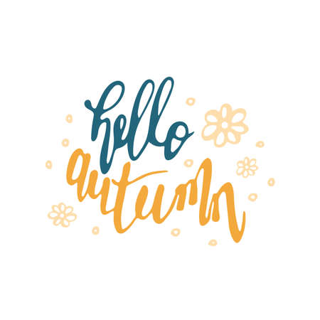 Hand drawn lettering Hello Autumn isolated on white
