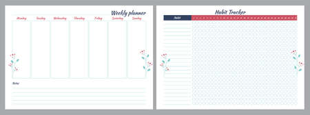 Set of planners with floral design. Weekly and Habit tracker