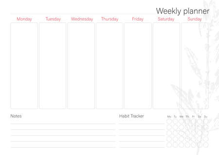 White weekly planner with minimalistic leaf design
