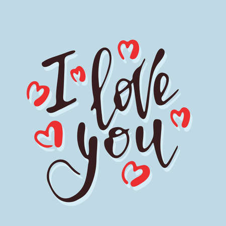 Hand drawn lettering I love you with red hearts Иллюстрация