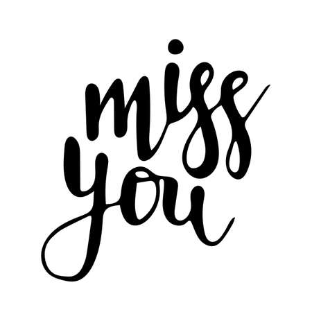 Vector hand drawn lettering Miss you isolated on white Иллюстрация