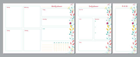 Set of planners with floral summer design. Weekly, daily planner and to do list Иллюстрация