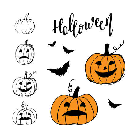 Halloween icon set. Cute pumpkins and bats isolated on white Иллюстрация