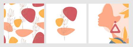 Autumn card set. Abstract pattern.