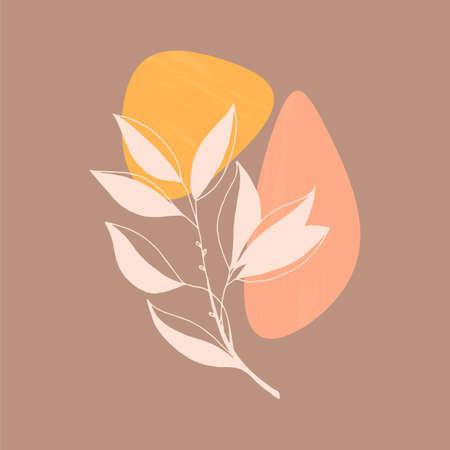 Autumn greeting card. Invitation with leaf shape