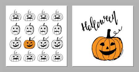 Halloween greeting card set. Cute hand drawn pumpkins Иллюстрация