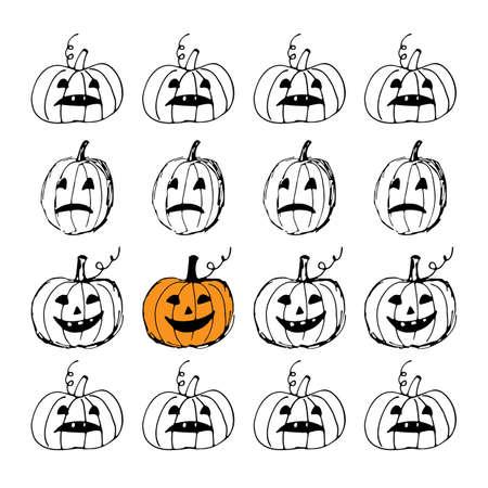 Halloween greeting card. Cute hand drawn black and white pumpkins