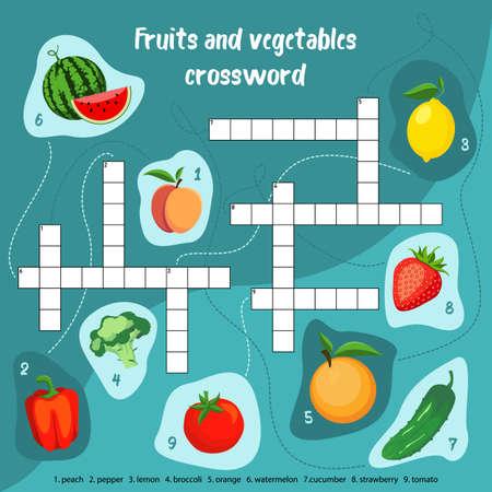 Fruits vegetables crossword puzzle for children Иллюстрация