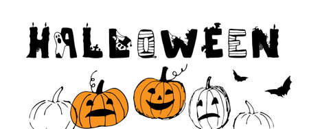 Halloween greeting card. Cute pumpkin background