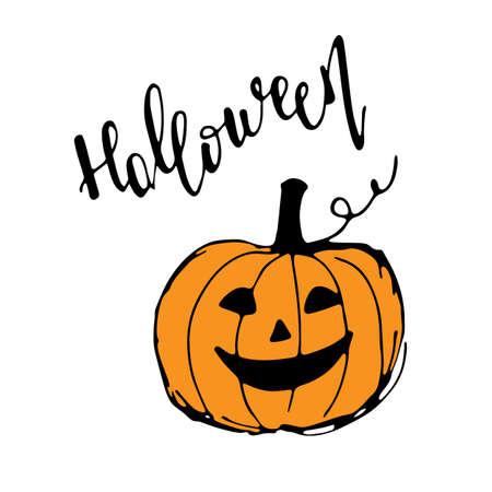 Halloween greeting card. Cute hand drawn pumpkin Иллюстрация
