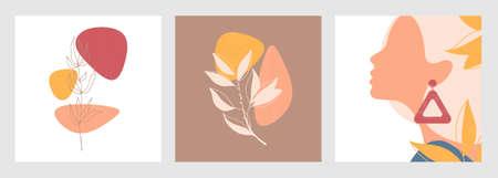 Vector autumn card set. Abstract pattern.