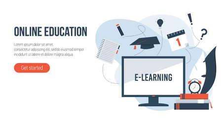 Online education concept. Flat isometric illustration.