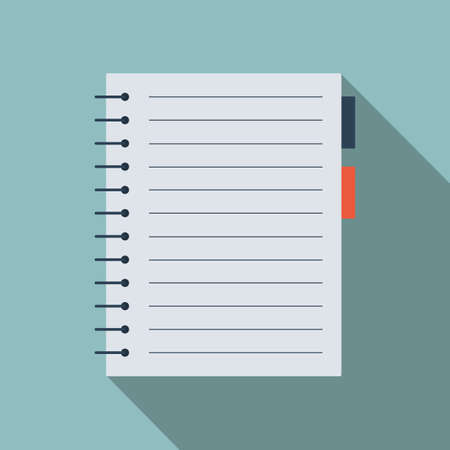 School notebook icon. Office stationery items. Иллюстрация