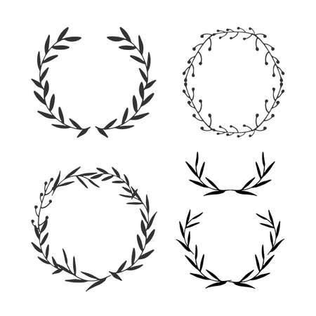 Set of leaf frames. Decorative leaf elements