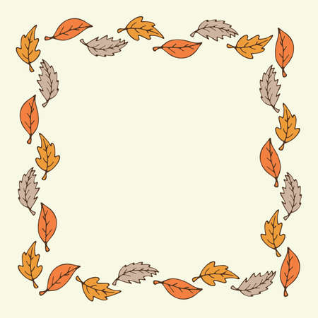 Leaf frame. Autumn background with leaf pattern