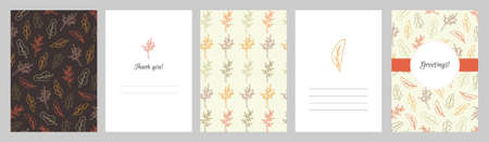 Set of greeting cards with autumn leaf pattern