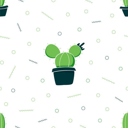 Seamless pattern. Cactus in pots. Green plants on a white background