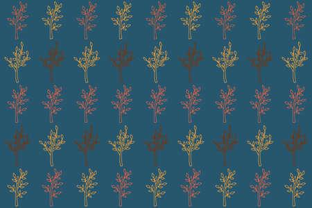 Autumn leaf pattern on blue. Leaf cute background