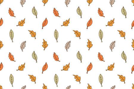 Autumn leaf pattern on white. Leaf cute background Фото со стока