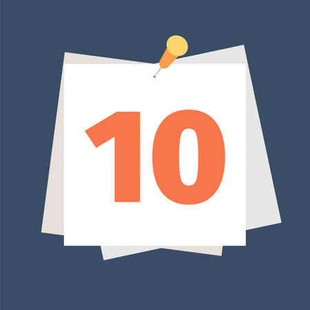 Calendar icon with nomber 10. Planning. Time management.