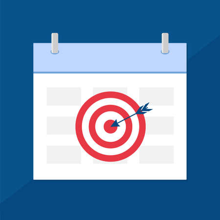 Calendar icon with target. Planning. Time management.