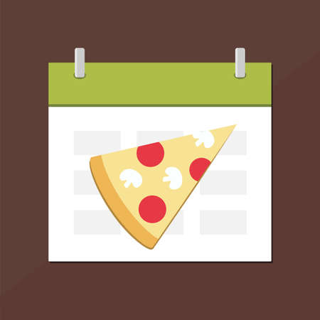 Calendar icon with pizza. Planning. Time management.