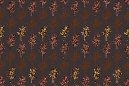 Autumn leaf pattern on brown. Leaf cute background