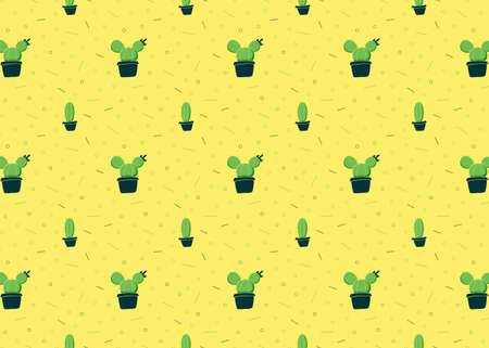 Cactus in pots. Green plants on a yellow background