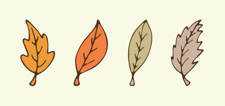 Vector hand drawn Autumn leaves. Set of leaf icons